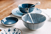 Blue table ware plates and bowls