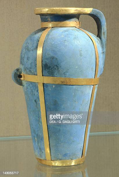 Blue terracotta balm vase decorated with gold foils Artefact from Phoenicia or Egypt 21st16th Century BC Beirut National Museum Of Beirut