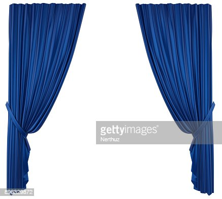 Blue Theatre Curtain Isolated : Stock Photo