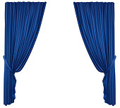 Blue Theatre Curtain isolated on white background. 3D render