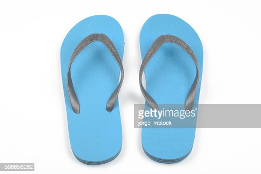 Blue thongs : Stock Photo