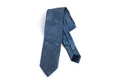 Blue tie Isolated on White Background.