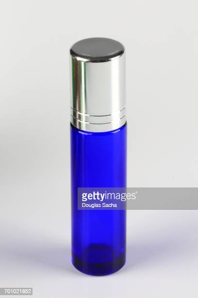 Blue tinted Essential Health Oil bottle