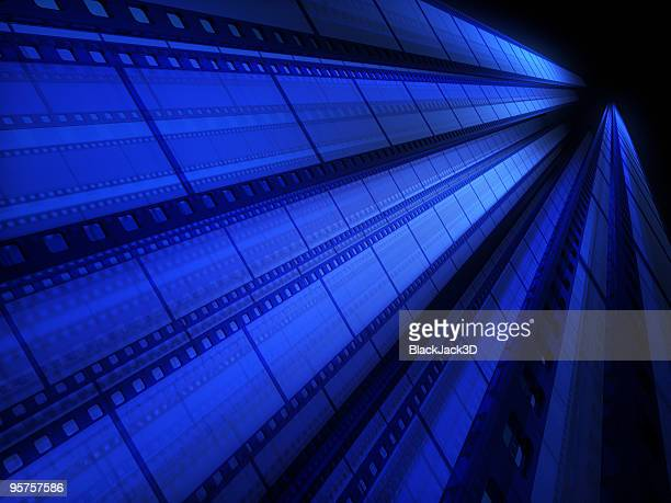 A blue tinted image of cinefilm as a background