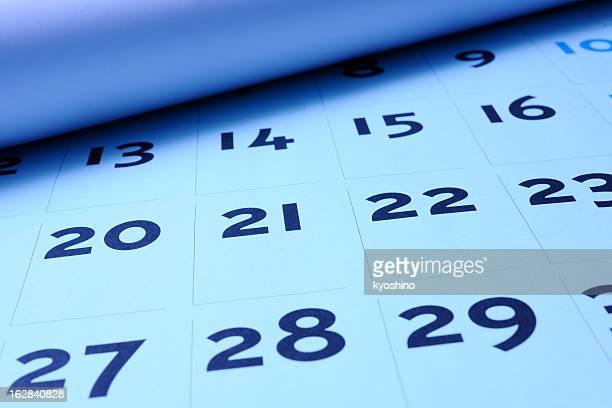 Blau getönten Bild von eröffnete Kalender