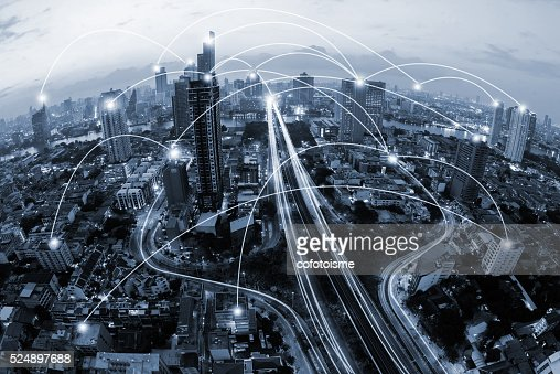 blue tone city scape and network connection concept : Stock Photo