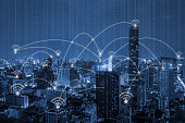 blue tone city scape and wifi network connection concept,technology and digital concept