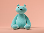 Blue toy bear on pink background 3 D illustration
