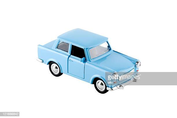 Blue toy car - Trabant, isolated on white