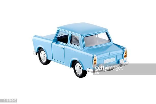Blue toy car - Trabant, isolated on white