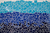Blue trencadis mosaic, ceramic decoration