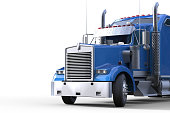 Front View Semi-Truck Blue and Isolated Background Freight Transportation