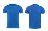 Blue T-shirts front and back used as design template.