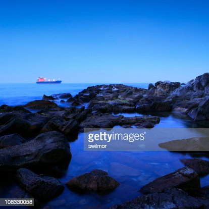 Blue Twilight Seascape with Ship : Stock Photo