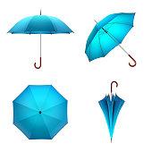Blue umbrella isolated on white background. 3D illustration