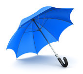 Creative abstract 3D render illustration of the blue umbrella or parasol with black handle isolated on white background