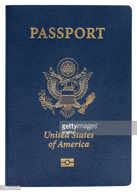 Blue United States of America passport on white background