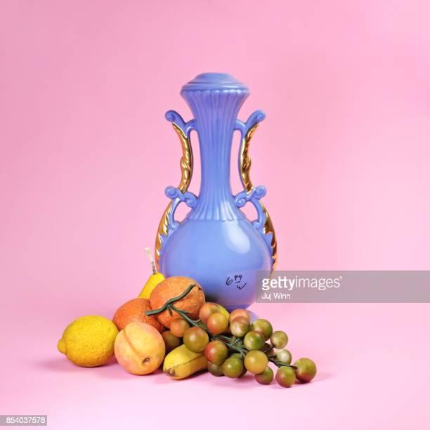 Blue Urn and Thrift Store Fruit