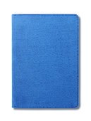 Blue velvet notebook isolated on white background