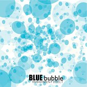 Blue water bubbles abstract background with transparent circular elements