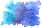 Blue watercolor abstract background on papper