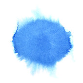 Blue watercolor round stain. Abstract background. Space for your own text. Raster illustration
