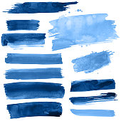 Blue Watercolour brush strokes on a white background