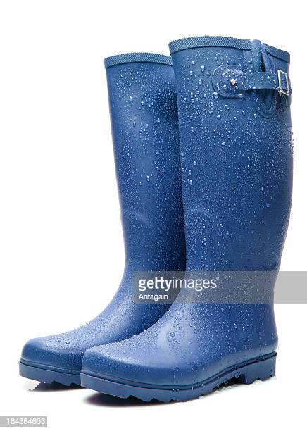Blue Wellington boots with raindrops