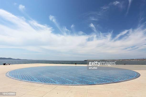 blue wide photovoltaic solar panel against sky Zadar Croatia