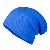 Blue winter autumn hat cap on invisible mannequin isolated on white