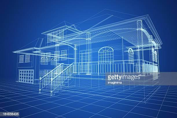 Bleu Modélisation 3D Villa