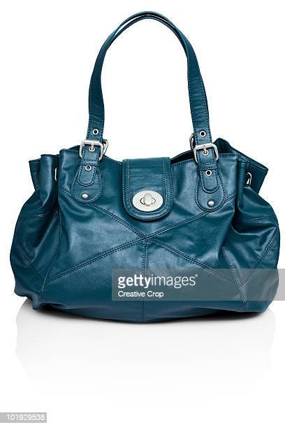Blue woman's large leather bag