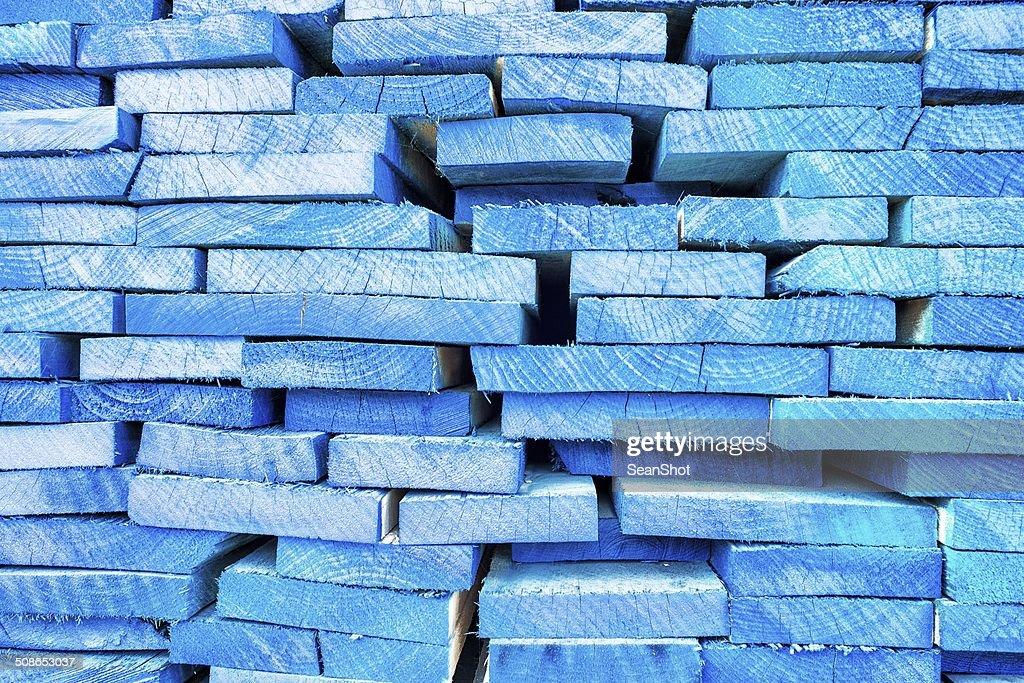 Blue Wood Warehouse Detail : Stock Photo