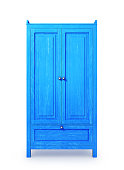 blue wooden cabinet, isolated on white background. 3d illustration