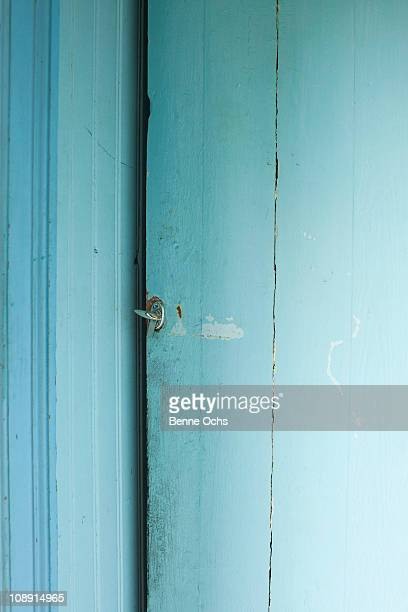 A blue wooden door