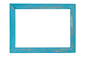 Blue wooden photo frame isolated on white background with clipping path