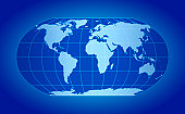 Blue world map, Robinson projection, with grid lines on blue backdrop
