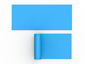 3d rendering blue yoga mat top view on white background