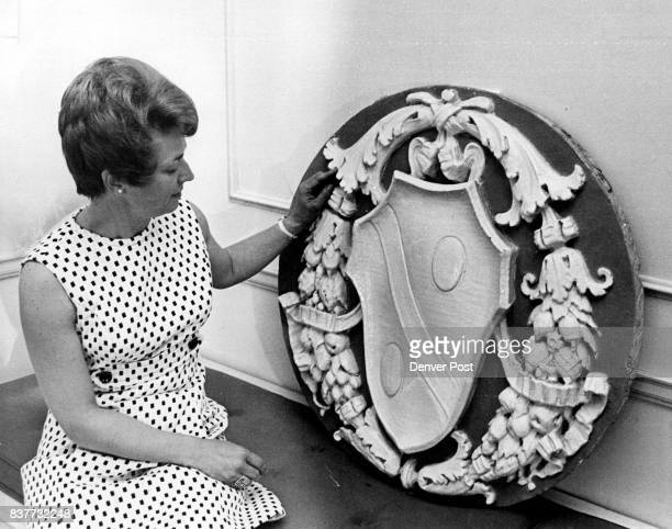 BlueAmd White Medallion From DF Tower A Highlight Of Art Auction Mrs Will P Pirkey examines the art work to be won by someone who attends the...
