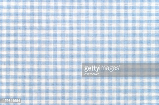 Blue-and-white checkered gingham fabric