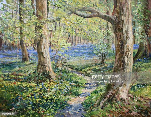 Bluebell woods  oil painting