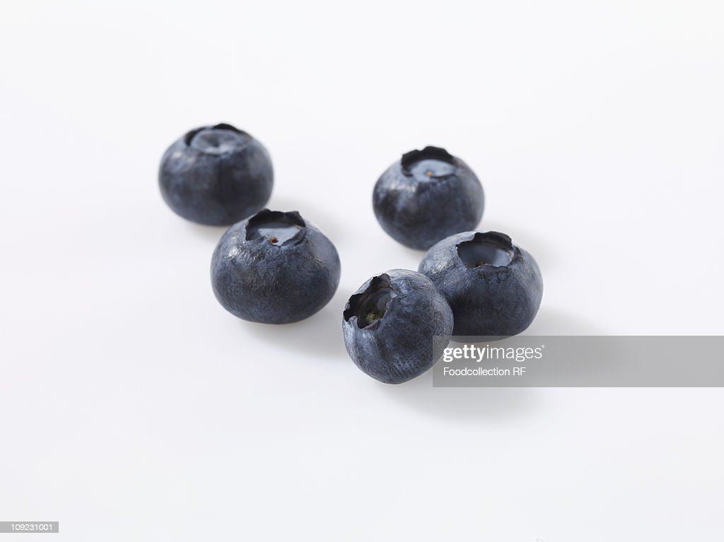 Blueberries on white background, close-up : Stock Photo