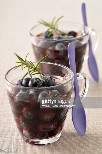 Blueberries with red wine and rosemary