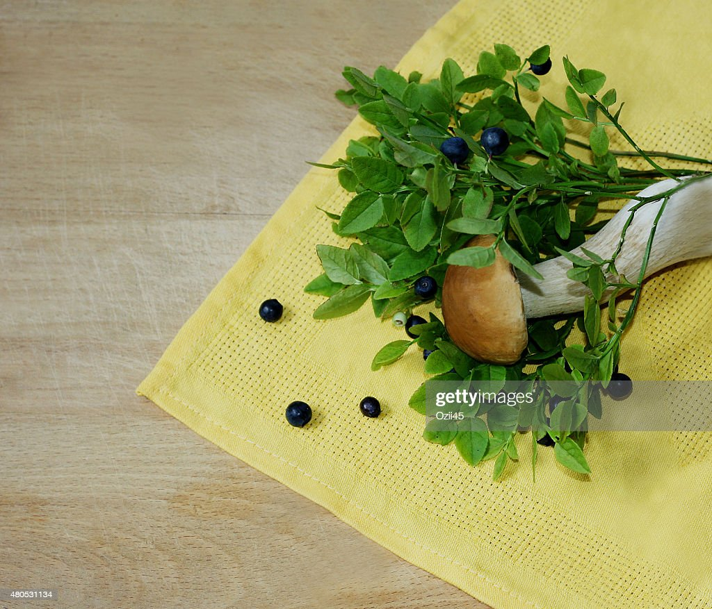 Blueberry and mushroom : Stock Photo