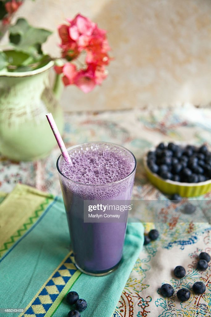 Blueberry and smoothie still life : Stock Photo