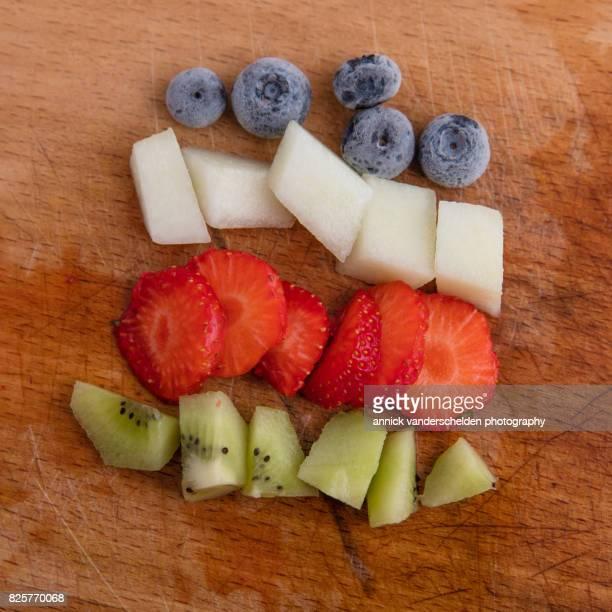 Blueberry, melon, strawberry and kiwi fruit.