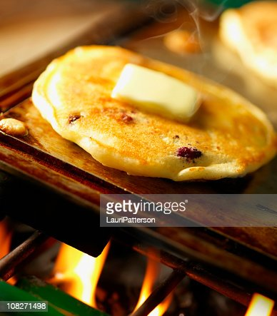 Blueberry Pancakes on Camping Stove : Stock Photo