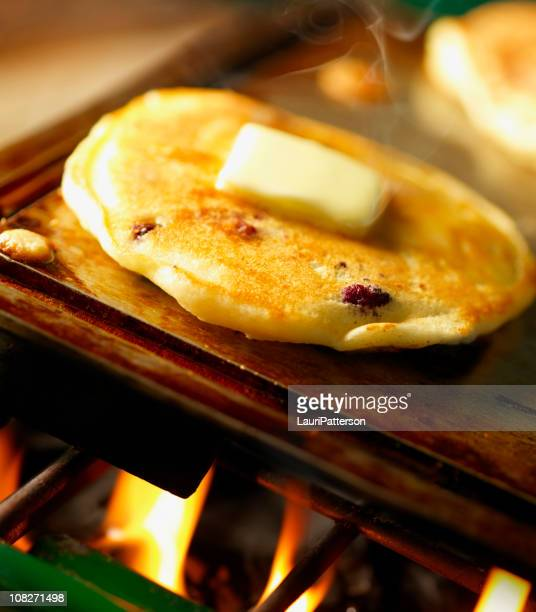 Blueberry Pancakes on Camping Stove