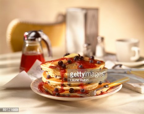 Blueberry pancakes with syrup : Stock Photo