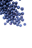 Close-up view of fresh Blueberries isolated on white background.Top view of blueberry with copy space